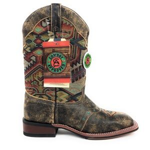 Laredo Scout Leather Aztec Brown Cowboy Boots 5647